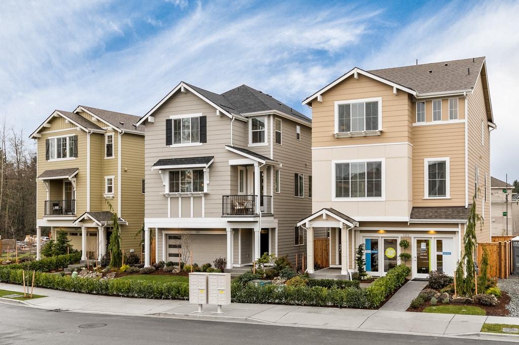 Three model homes at Creekside Grove in Lynnwood