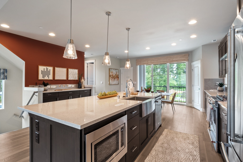 Kitchen island contains convection microwave and dishwasher