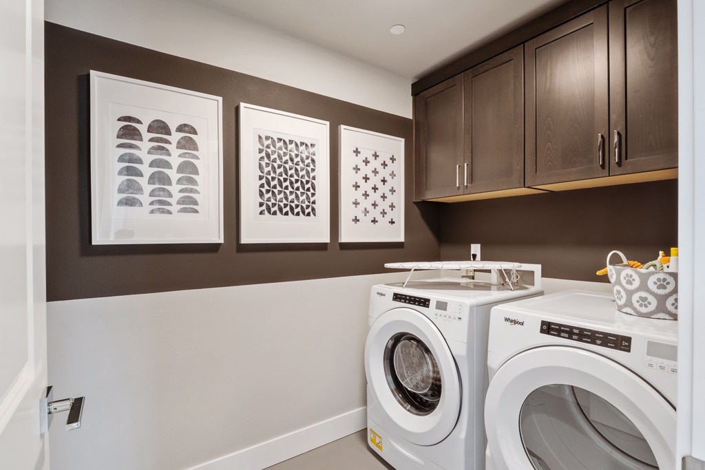 Laundry room with upper cabinets (included) and room for side-by-side w/d (optional upgrade)
