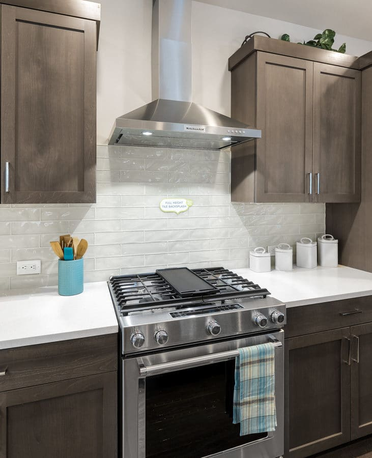 KitchenAid gas cooking and stainless steel rangehood